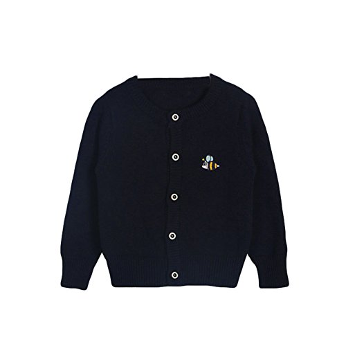 Baby Boys Girls 1-6T Crew Neck Button-down Bee Embroidery Cotton Knits Cardigan Button Sweaters Coat Jacket Outerwear (3 Years old/100cm, Navy)