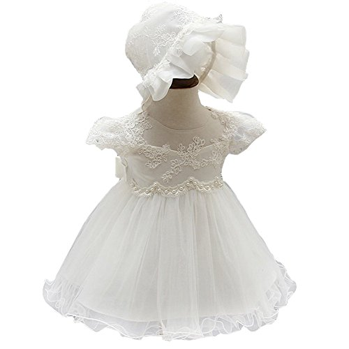 Mini Kitty Baby Girls Dresses Pageant Formal Dress,White,6-12 Months