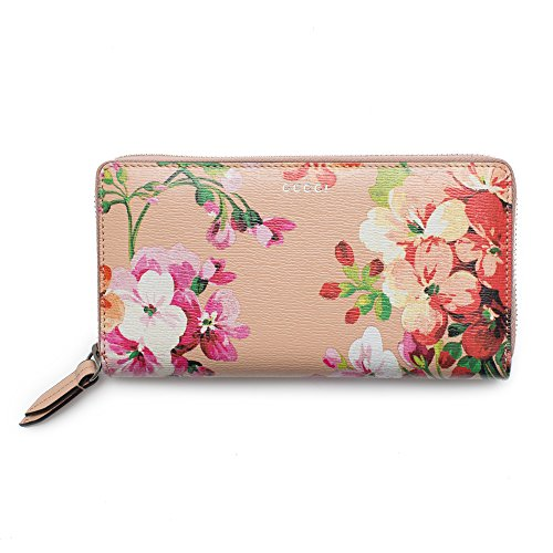Gucci Shanghai St Beige Blooms Apricot Leather Continental Wallet Italy New