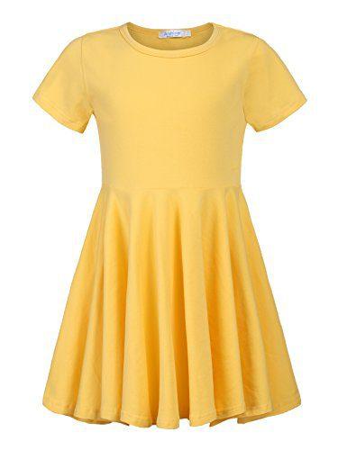Arshiner Little Girls Short Sleeve A Line Casual Skater Dress