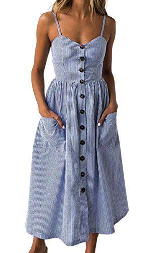 Angashion Women's Dresses-Summer Floral Bohemian Spaghetti Strap Button Down Swing Midi Dress with Pockets Navy Blue Striped M