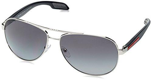 Prada Sport Grey Steel Benbow Pilot Sunglasses Polarised Lens Cat