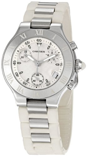 Cartier Women's Must 21 Chronoscaph Stainless Steel and White Rubber Chronograph Watch