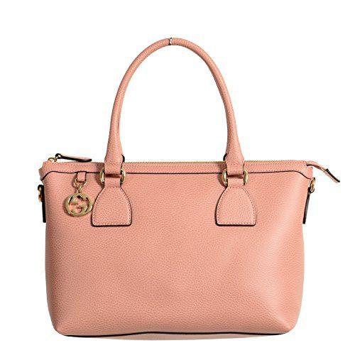 Gucci Women's Pebbled Leather Rose Pink Satchel Handbag Bag