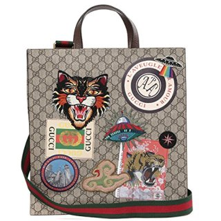 Wiberlux Gucci Unisex Multiple Patch Detail Striped Strap Tote Bag One Size Beige
