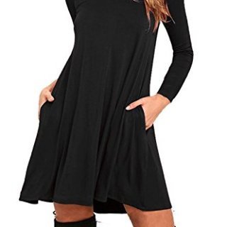 AUSELILY Women's Round Neck Long Sleeve A-Line Plain Simple T-Shirt Swing Dress With Pockets (2XL, Long Sleeve-Black)