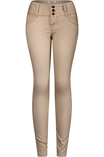 2LUV Women's 3 Button Stretchy Uniform Pants Skinny Color Jeans Khaki Circles 9