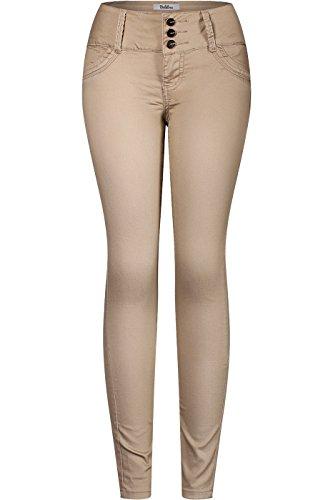 2LUV Women's 3 Button Stretchy Uniform Pants Skinny Color Jeans Khaki Circles 9