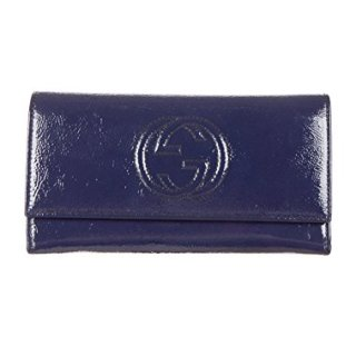 Gucci 'Soho' Patent Leather Continental Wallet, Navy Blue