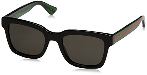 Gucci Black Plastic Square Sunglasses Grey Polarized Lens