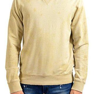 Just Cavalli Men's Distressed Beige Long Sleeve Crewneck Sweatshirt US M IT 50
