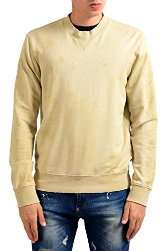 Just Cavalli Men's Distressed Beige Long Sleeve Crewneck Sweatshirt US M IT 50