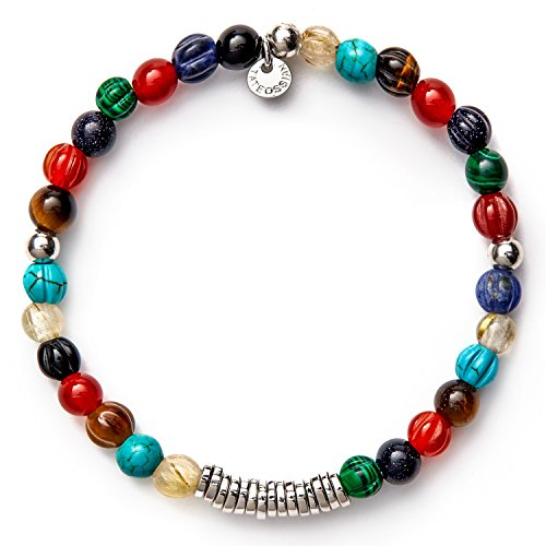 Tateossian Men's Bohemian Beaded Bracelet, Large 19cm - Multicolor Sodalite