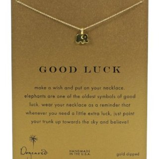 """Dogeared Reminder Good Luck Gold-Plated Sterling Silver Elephant Pendant Necklace, 16"""""""