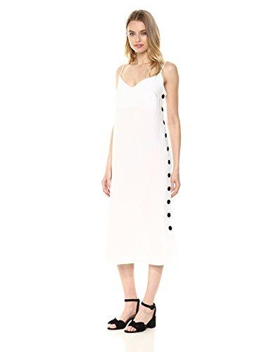 Mara Hoffman Women's Heidi Button Side Spaghetti Strap Shift Dress, White, Medium
