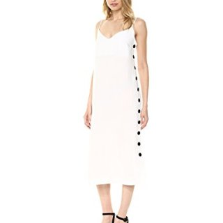 Mara Hoffman Women's Heidi Button Side Spaghetti Strap Shift Dress, White, Medium