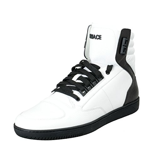 Versace Men's White Leather Hi Top Fashion Sneakers Shoes Sz US 11 IT 44