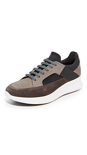 Salvatore Ferragamo Men's Duo Suede Sneakers, Grey/Grey/Black, 11 D(M) US