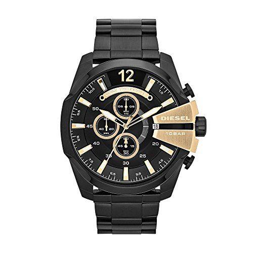 Diesel Men's Mega Chief Quartz Stainless Steel Chronograph Watch, Color Black (Model: DZ4338)