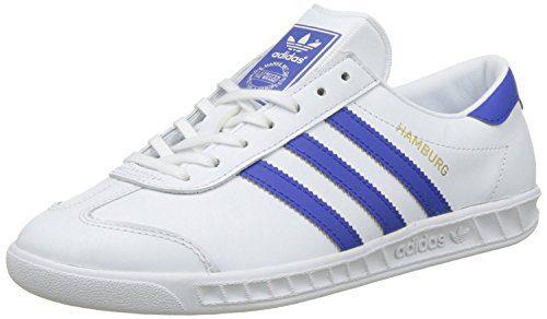adidas Originals Men's Hamburg Shoes Trainers (11 D(M) US, Footwear White/Bold Blue/Gold Metallic)
