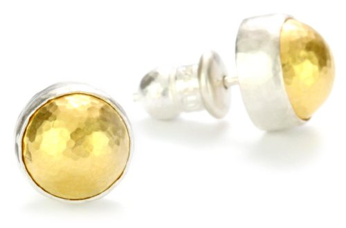 """GURHAN""""Amulet"""" Silver Button Earrings with High Karat Gold Accents"""