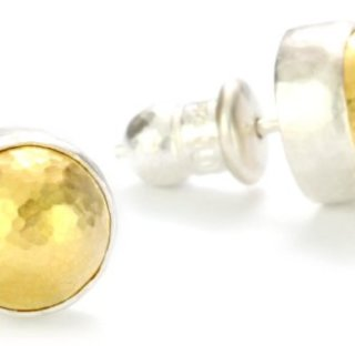 "GURHAN""Amulet"" Silver Button Earrings with High Karat Gold Accents"