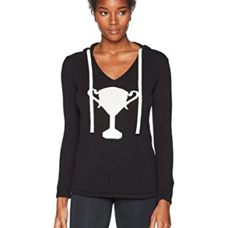 Trina Turk Recreation Women's Top It Off Trophy Wife Hooded Sweater, Black, Extra Large