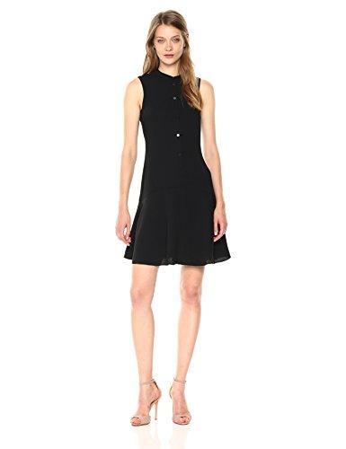 A|X Armani Exchange Women's Sleeveless Button Down Dress, Black, 6