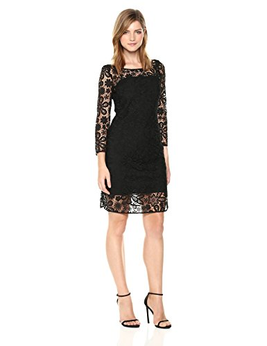 A|X Armani Exchange Women's Three-Quarter Sleeved Dress WTH Lace Overlay, Black, 6