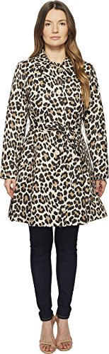"""Kate Spade New York Womens Cheetah Printed Cotton Twill 36"""" Button up Tie Waist Coat Caramel Leopard LG One Size"""