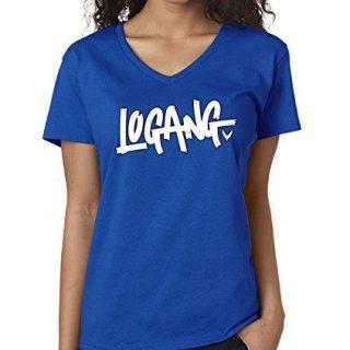 New Way 824 - Women's V-Neck T-Shirt Logang Logan Paul Maverick Small Royal Blue