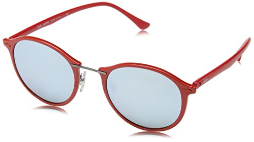 Ray-Ban INJECTED UNISEX SUNGLASS - SHINY RED Frame GREEN MIRROR SILVER Lenses 49mm Non-Polarized