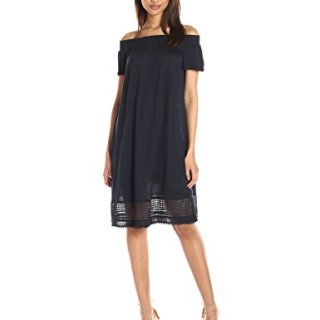 A|X Armani Exchange Women's Off The Shoulder Eyelet Knee Length Dress, Navy, Small