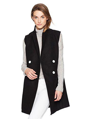 A X Armani Exchange Women's Longline Blazer Vest, Black, M