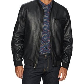 Robert Graham Men's Massena Woven Leather Jacket, Black, Large
