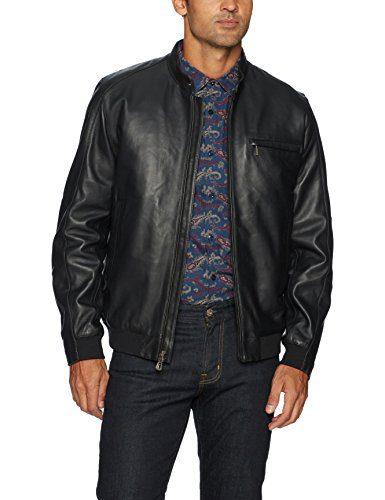 Robert Graham Men's Massena Woven Leather Jacket, Black, Large