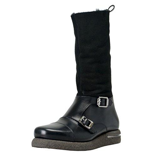 Versace Men's Suede Leather Real Fur Winter Boots Shoes Sz US 10.5 IT 43.5