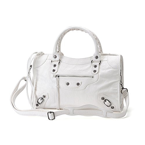 AMA Women Leather Studed Tassel Motorcycle Bags Biker Bag Shoulder Bag 38cm Medium Size 7 Colors (White)