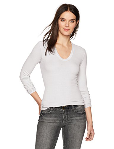 Enza Costa Women's Rib Fitted Long Sleeve U-Neck Top, White, XS