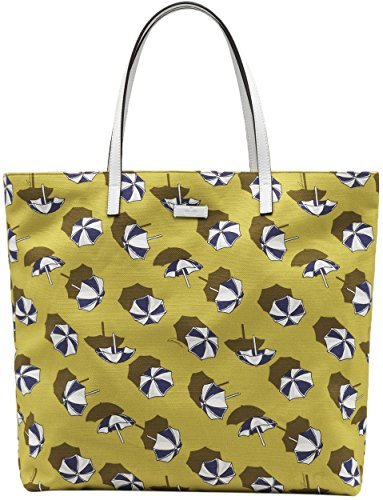 Gucci Yellow Cardamom Parasol Print Canvas Leather Detail Tote Bag