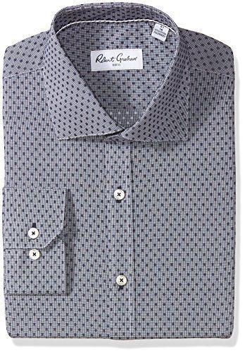 "Robert Graham Men's Veneto Regular Fit Dot Dress Shirt, Navy, 17"" Neck 36"" Sleeve"