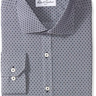 "Robert Graham Men's Veneto Regular Fit Dot Dress Shirt, Navy, 17"" Neck 36"" Sleeve"