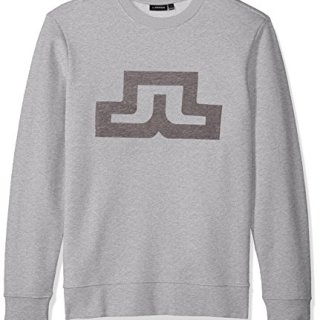 J.Lindeberg Men's Bridge Logo Sweatshirt, Light Grey Melange, X-Large
