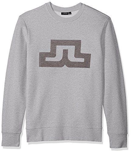 J.Lindeberg Men's Bridge Logo Sweatshirt, Light Grey Melange, X-Large