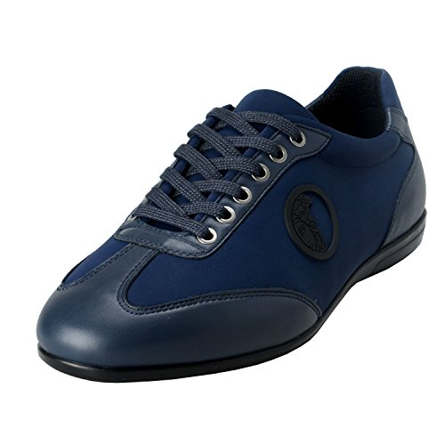 Versace Collection Men's Blue Leather Fashion Sneakers Shoes US 11 IT 44;