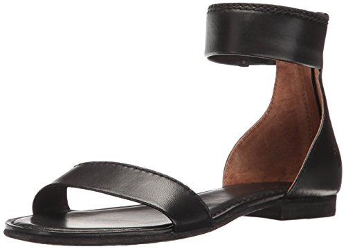 FRYE Women's Carson Ankle Zip Flat Sandal, Black, 9.5 M US