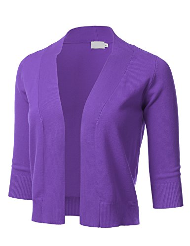 FLORIA Womens Classic 3/4 Sleeve Open Front Cropped Cardigan Ultraviolet M