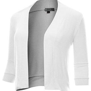 BIADANI Women Classic 3/4 Sleeve Crop Cardigan White Medium