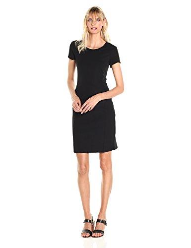 A|X Armani Exchange Women's Basic Crew Neck Short Sleeve Above The Knee Dress, Black, Large