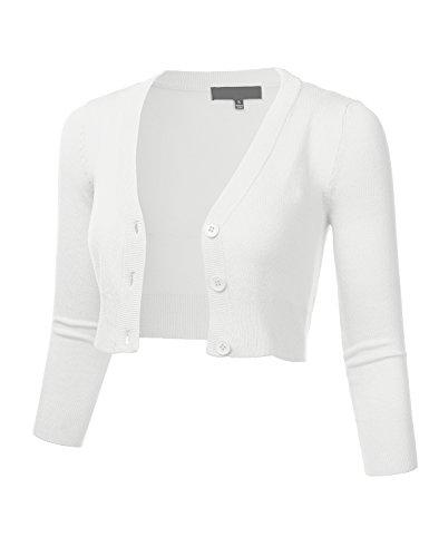 FLORIA Women Solid Button Down 3/4 Sleeve Cropped Bolero Cardigan Sweater White M